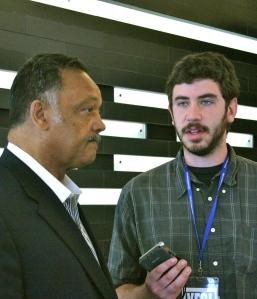 Interviewing Rev. Jesse Jackson. Photo by Jordan Stowe